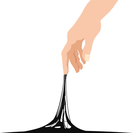 Sticky slime reaching stuck for hand, black banner template
