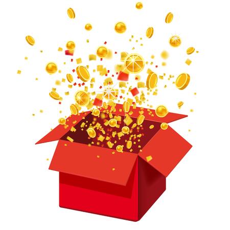 Box Exploision, Blast. Open Red Gift Box and Confetti