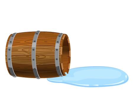 Baril ouvert allongé sur le sol, vide de liquide renversé Vecteurs