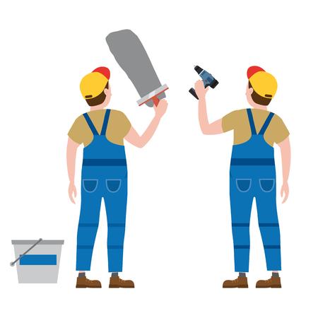 Les ouvriers mettent du plâtre, avec un tournevis. Illustration vectorielle, isolée. Industrie de la construction, réparation, nouvelle maison, intérieur du bâtiment