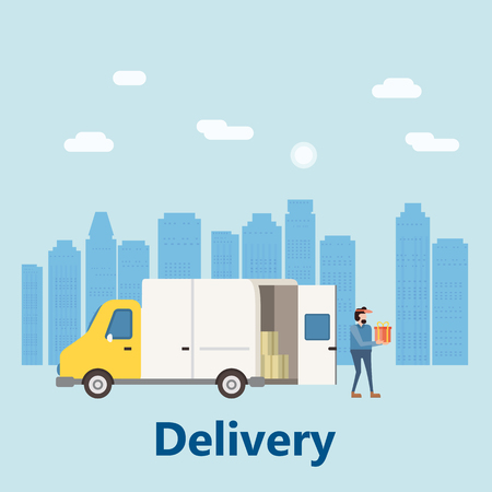 Concept delivery service, landing. Delivery truck rides on the way to the buyer