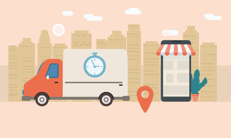 Servicio de entrega en línea, seguimiento de rastreador en línea. Smartphone, camión de reparto de paquetería, cronómetro. Entrega de Internet, concepto, idea, vector, ilustración para sitios web, tiendas, animación, aplicaciones móviles, publicidad, aislado Ilustración de vector