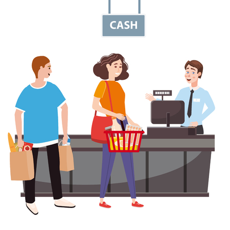 Cashier behind the cashier counter in the supermarket, shop, store serves the buyer, a woman with a basket full of groceries, men with packages. Vector, illustration, cartoon style, isolated