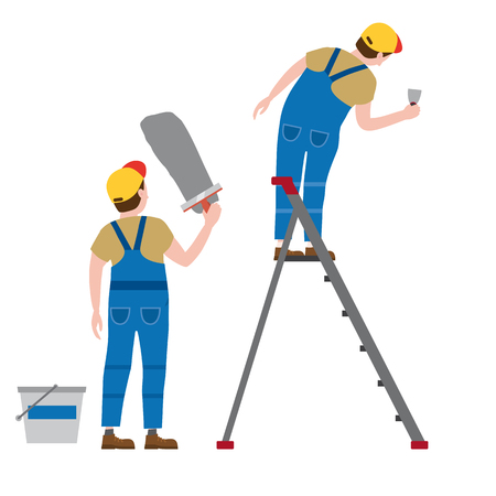 Workers put plaster on a stepladder. Vector illustration, isolated. Construction industry, repair, new home, building interior
