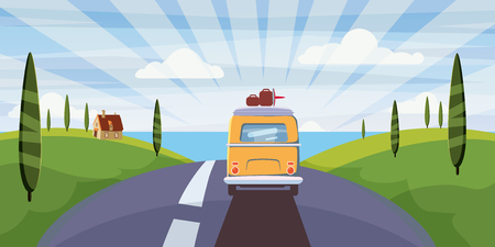 Travel van camper, bus on the road goes to the sea for a summer vacation. Holiday season vacation at sea. Travel leisure background. Template banner advertising, retro, vintage. Vector, cartoon style, illustration, isolated Foto de archivo - 121565471