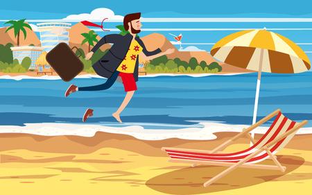 Übergang in den Urlaub. Geschäftsmann in Geschäftskleidung, der den Übergang von einem separaten Bild von Anzug und Büro zu Freizeitkleidung im Strandurlaub macht Vektorgrafik