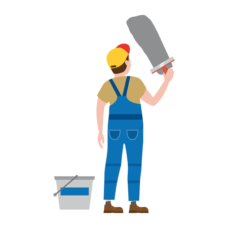 Professional working man applies plaster. Vector illustration, isolated. Construction industry, repair, new home, building interior
