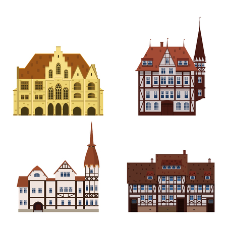 Set of old buildings houses, facades, Europe, medieval traditions. Different architectural styles. Vector illustration isolated on white background