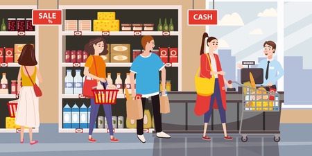 Supermarket or store interior with shelves and goods, groceries, cash desk and cashier. Men and women buyers, cart products