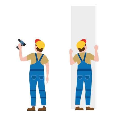 Ouvriers, avec un tournevis, installant des panneaux de plaques de plâtre. Illustration vectorielle, isolée. Industrie de la construction, réparation, nouvelle maison, intérieur du bâtiment