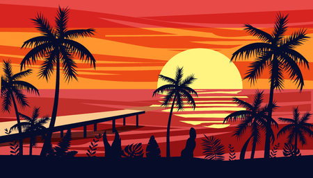 Summer holiday season. Tropical exotic beach sunset ocean sea. Silhouettes of palm trees, jetty, sun. Vector, illustration, isolated, poster, banner, invitation