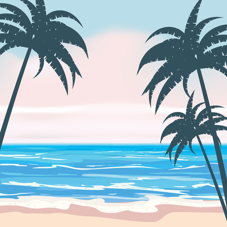 Summer tropical background template with exotic palm leaves and plants Stock Illustratie