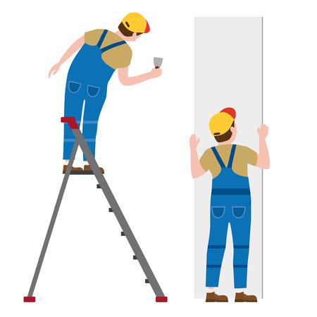 Des ouvriers mettent du plâtre sur un escabeau et installent des panneaux de plaques de plâtre. Illustration vectorielle, isolée. Industrie de la construction, réparation, nouvelle maison, intérieur du bâtiment
