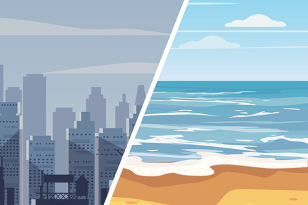 Template for advertising two landscapes to compare the quality of life Ilustração