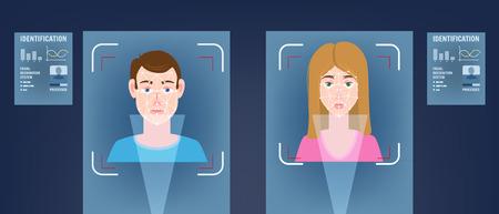 Identificatie van een biometrische persoon, persoonlijkheid door het intellectuele herkenningssysteem van een menselijk gezicht, man Vector Illustratie