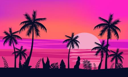 Zomer vakantie seizoen. Tropisch exotisch strand zonsondergang oceaan zee. Silhouetten van palmbomen, steiger, zon. Vector, illustratie, geïsoleerd, poster, banner, uitnodiging Vector Illustratie