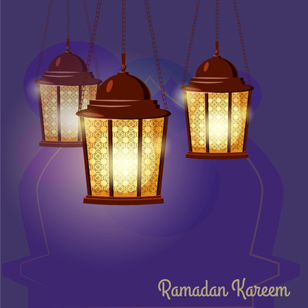 Ramadan Kareem holiday islam, illustrations with arabic lanterns. Vector isolated