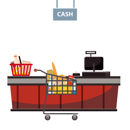 Cashier counter in the supermarket, shop, store with a basket full of groceries and grocery cart full of groceries. Vector, illustration, cartoon style, isolated Vetores