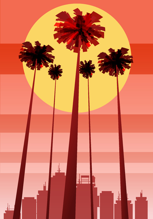 Summer beatiful sunset backgrounds with palms trees cityscape, sky horison Иллюстрация