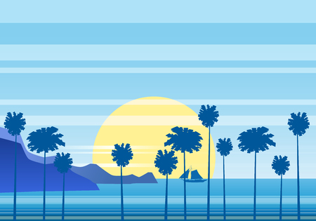 Summer sunny tropical backgrounds seascape with palms seaside