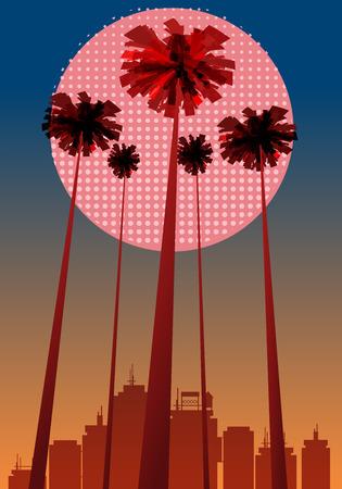 Summer beatiful sunset backgrounds with palms trees cityscape, sky horison Ilustração
