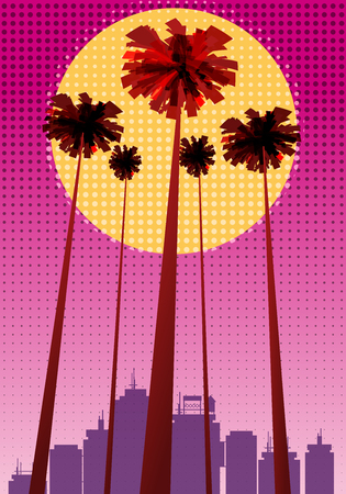 Summer beatiful sunset backgrounds with palms trees cityscape, sky horison Ilustração