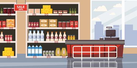 Supermarket or store interior with shelves and goods, groceries, cash desk. Big shopping center. Vector, illustration, isolated, cartoon style Ilustração