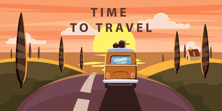 Time to travel. Sunset Van camper, bus on the road goes to the sea for a summer vacation. Holiday season vacation at sea. Travel leisure background. Template banner advertising, retro, vintage.