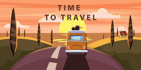 Zeit zu reisen. Sunset Van Camper, Bus auf der Straße fährt für einen Sommerurlaub ans Meer. Ferienzeit Urlaub auf See. Reisefreizeithintergrund. Vorlage Bannerwerbung, Retro, Vintage.