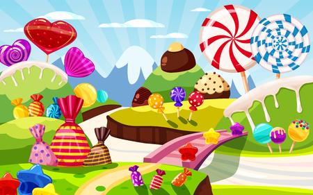 Paysage féerique du monde des bonbons sucrés, panorama. Bonbons, bonbons caramel