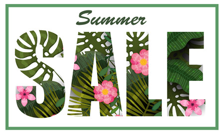 Summer Sale trendy tropical leaves and flowers