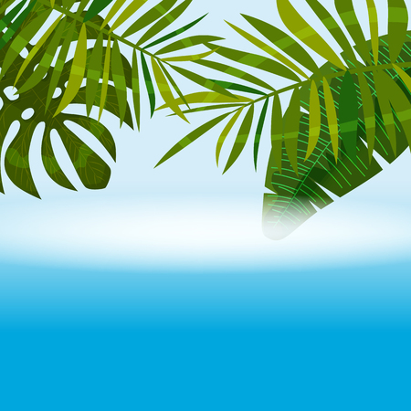 Summer tropical background template with exotic palm leaves and plants Ilustração