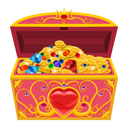 Princess treasure chest, decorated with diamonds and gold Illustration