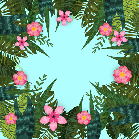 Summer trendy tropical leaves and flowers