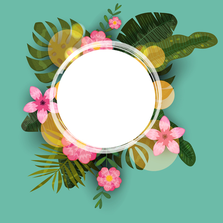 Summer tropical trendy background template of exotic plants and hibiscus flowers Иллюстрация
