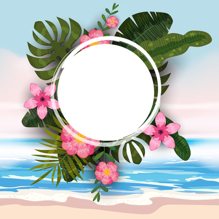 Summer tropical trendy background template of exotic plants and hibiscus flowers Çizim