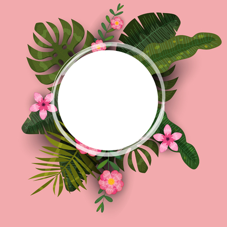 Summer tropical background template of exotic plants and hibiscus flowers