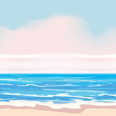 Summer tropical background template, shore waves surf sea