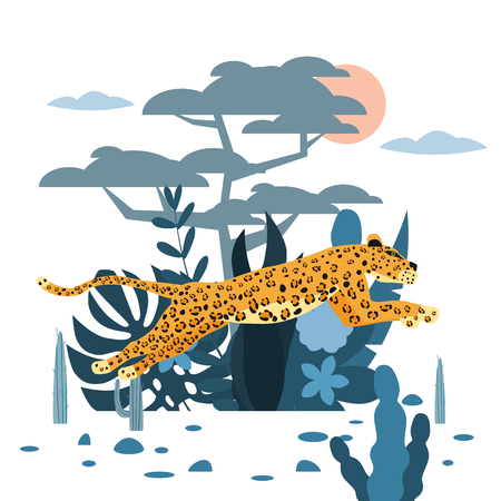 Leopard jumping, cute, background plants and tree, graphic trend style, animal predator mammal, jungle.