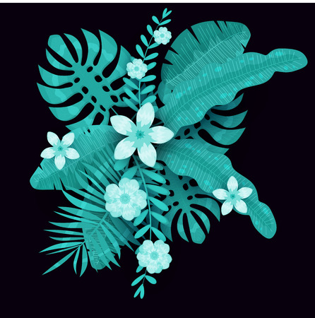 Summer trendy template exotic plants and hibiscus flowers tropical background Ilustração