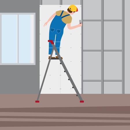 Un travailleur professionnel sur un escabeau applique du plâtre à l'intérieur Vecteurs