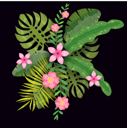Summer trendy template exotic plants and hibiscus flowers tropical background 向量圖像