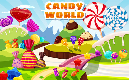 Sweet candy world fairy landscape, panorama. Sweets, candies caramel Ilustrace