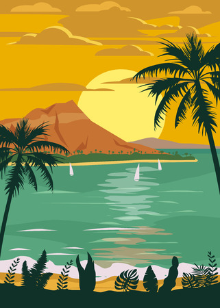 Retro Vintage style travel poster or sticker. Tropical island paradise sunset, ocean, beach and palm trees. Summer vacation holiday. Vector, isolated Illustration