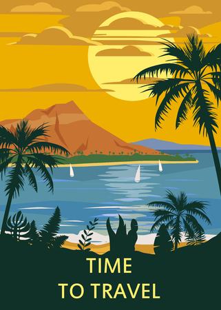 Retro Vintage Time to Travel style travel poster or sticker. Tropical island paradise sunset, ocean, beach and palm trees. Summer vacation holiday. Vector, isolated