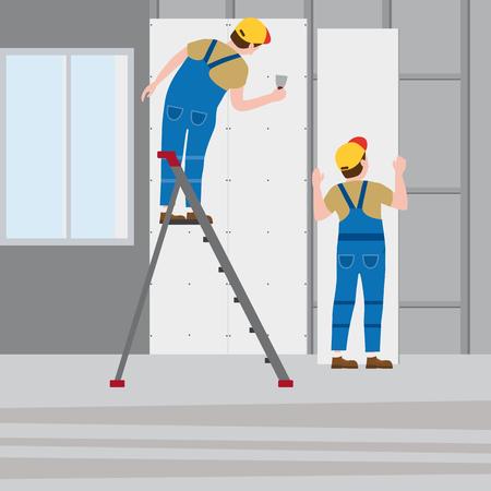 Arbeiter verputzen eine Trittleiter und installieren Gipskartonplatten im Innenraum. Vektorillustration, getrennt. Bauindustrie, Reparatur, neues Zuhause, Gebäudeinnenraum