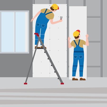 Pracownicy kładą tynk na drabinie, instalując we wnętrzu płyty gipsowo-kartonowe. Ilustracja wektorowa, na białym tle. Budownictwo, remont, nowy dom, wnętrze budynku