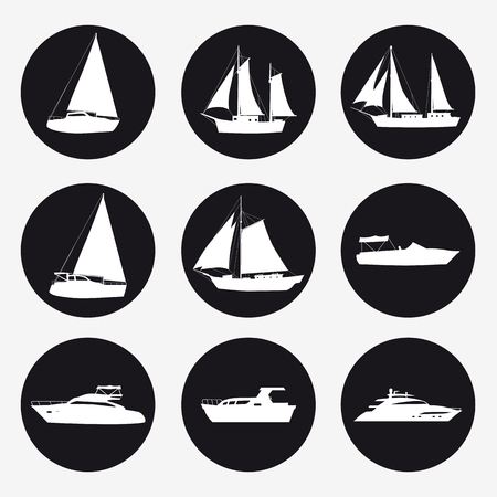 Set icons Ship, pleasure boat, speed boat, cruise ship, luxury yacht on black background for graphic and web design. Simple vector sign. Internet concept symbol for website button or mobile app