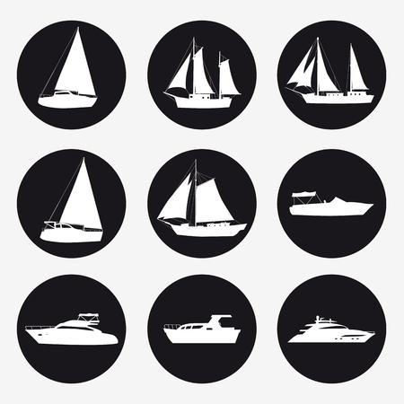 Zestaw ikon statek, łódź rekreacyjna, motorówka, statek wycieczkowy, luksusowy jacht na czarnym tle do projektowania graficznego i internetowego. Proste wektor znak. Symbol koncepcji internetowej dla przycisku strony internetowej lub aplikacji mobilnej