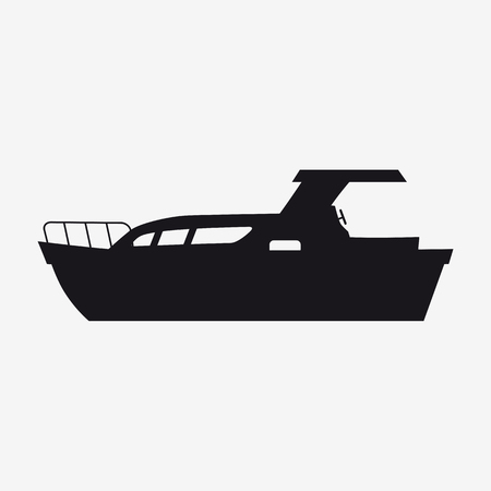 Icon pleasure boat, speed boat, boat, side view silhoutte. Vector, isolated simple style